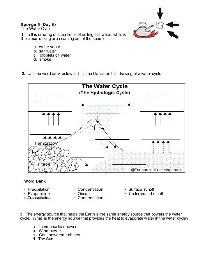 Water Cycle Worksheet Kindergarten Water Cycle Worksheet Fill In the Blank formidable Water