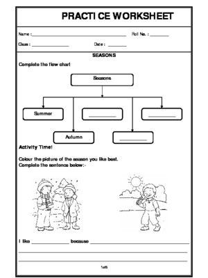 Weather Worksheets for 2nd Graders Seasons with Images