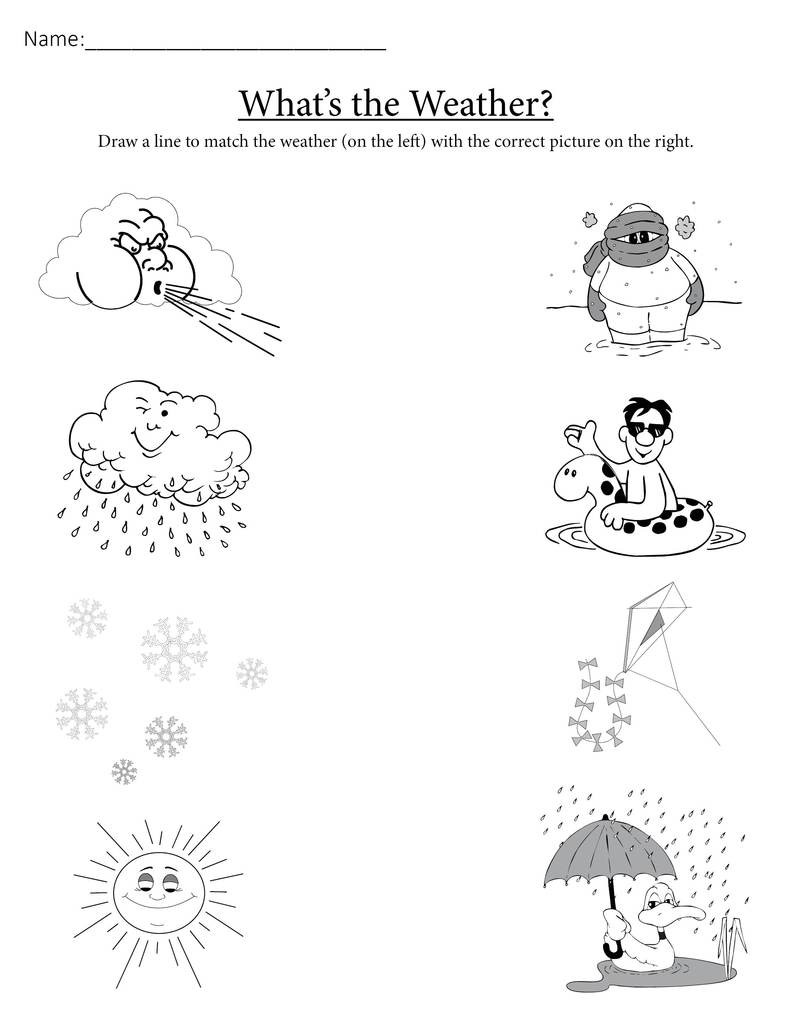 "Weather Worksheets for First Graders ""what S the Weather "" Printable Matching Worksheet"