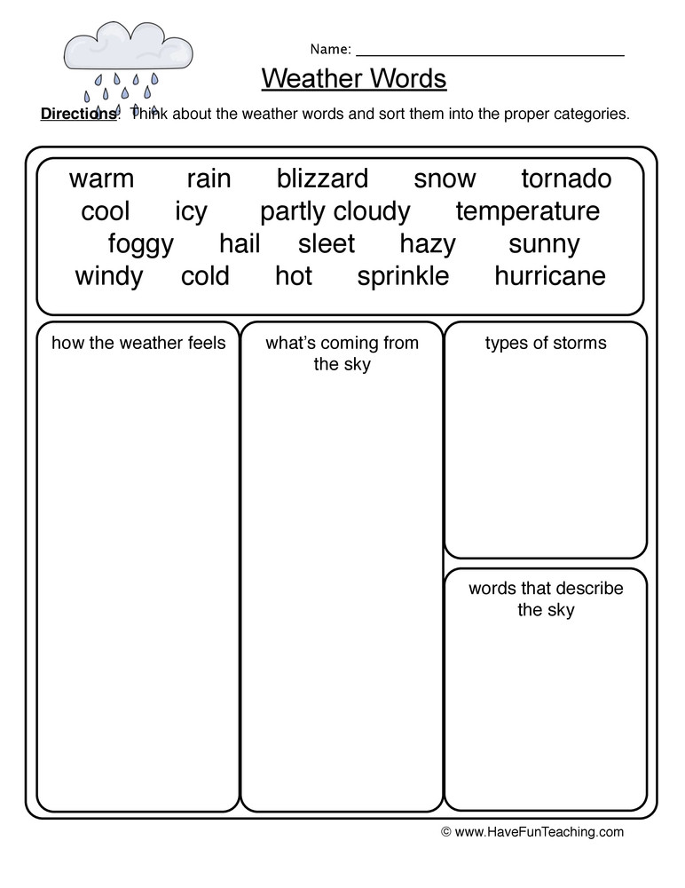 Weather Worksheets for First Graders Weather Words Worksheet