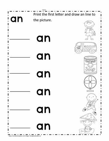 Word Family Worksheet Kindergarten An Word Family Worksheet Worksheets