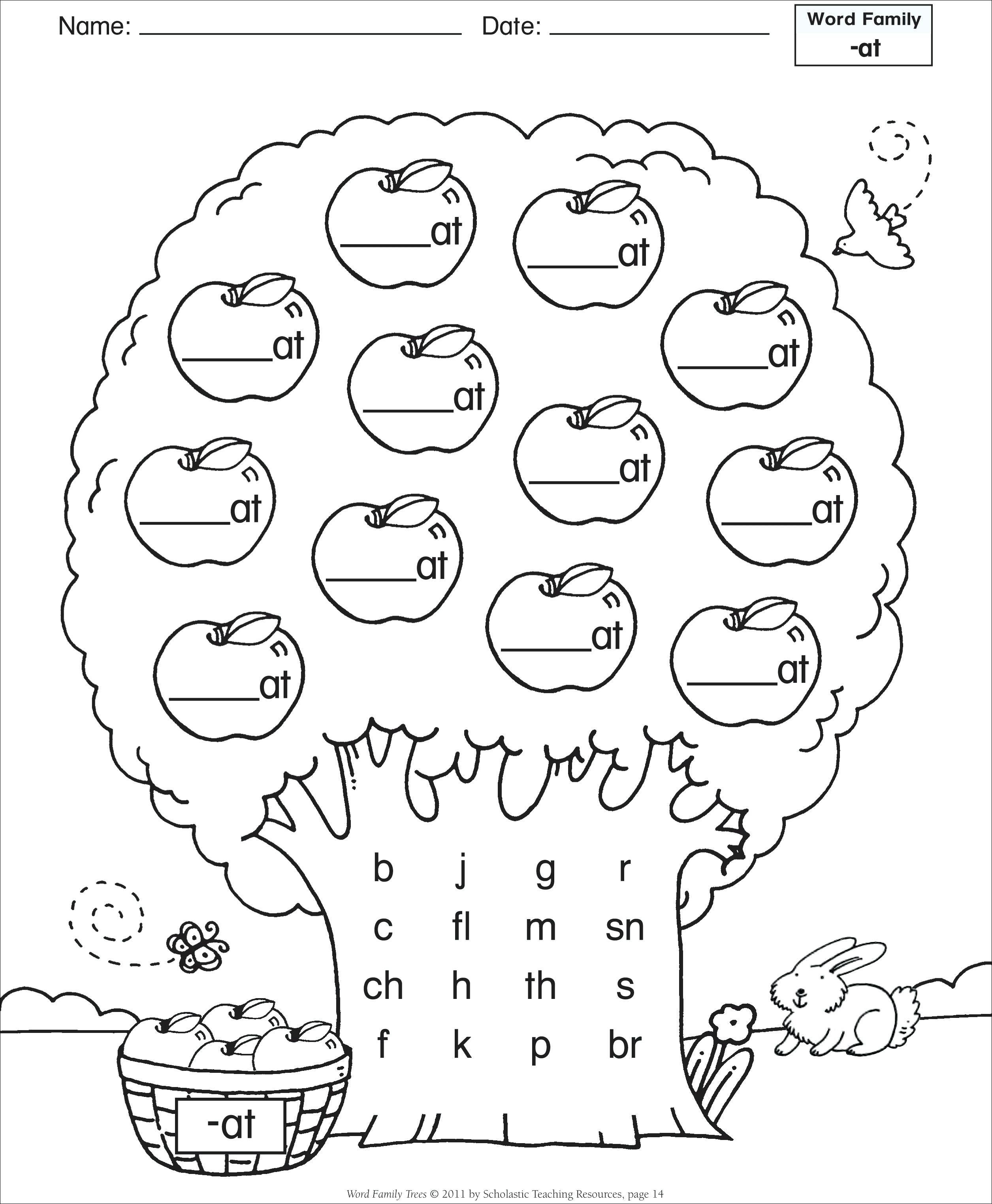 Word Family Worksheet Kindergarten Free Word Family Worksheets Word Families Template Free Word