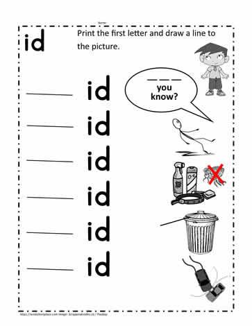 Word Family Worksheet Kindergarten Id Word Family Printable Worksheets
