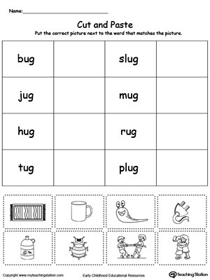 Word Family Worksheet Kindergarten Ug Word Family Match Picture with Word