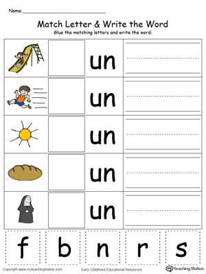 Word Family Worksheet Kindergarten Un Word Family Match Letter and Write the Word In Color