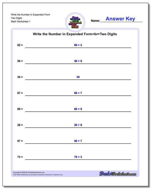 Word form Worksheets 4th Grade Standard Expanded and Word form