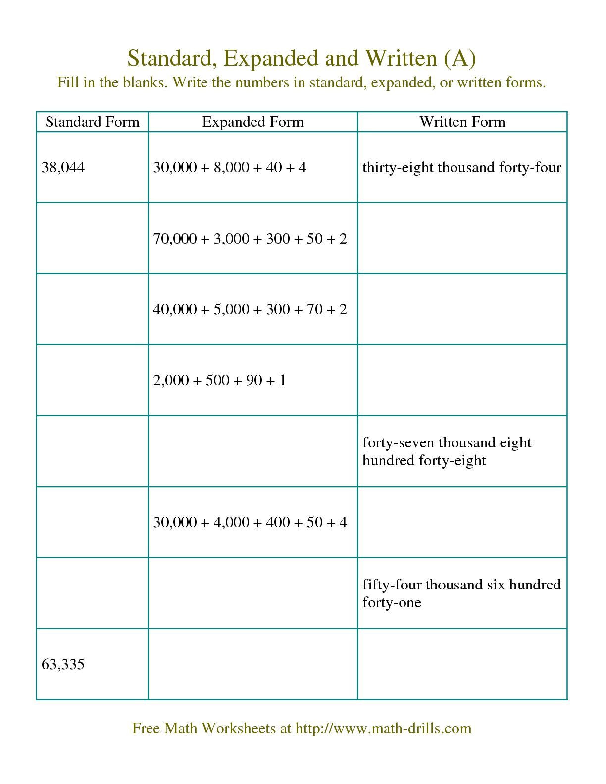 Word form Worksheets 4th Grade the Converting Between Standard Expanded and Written forms