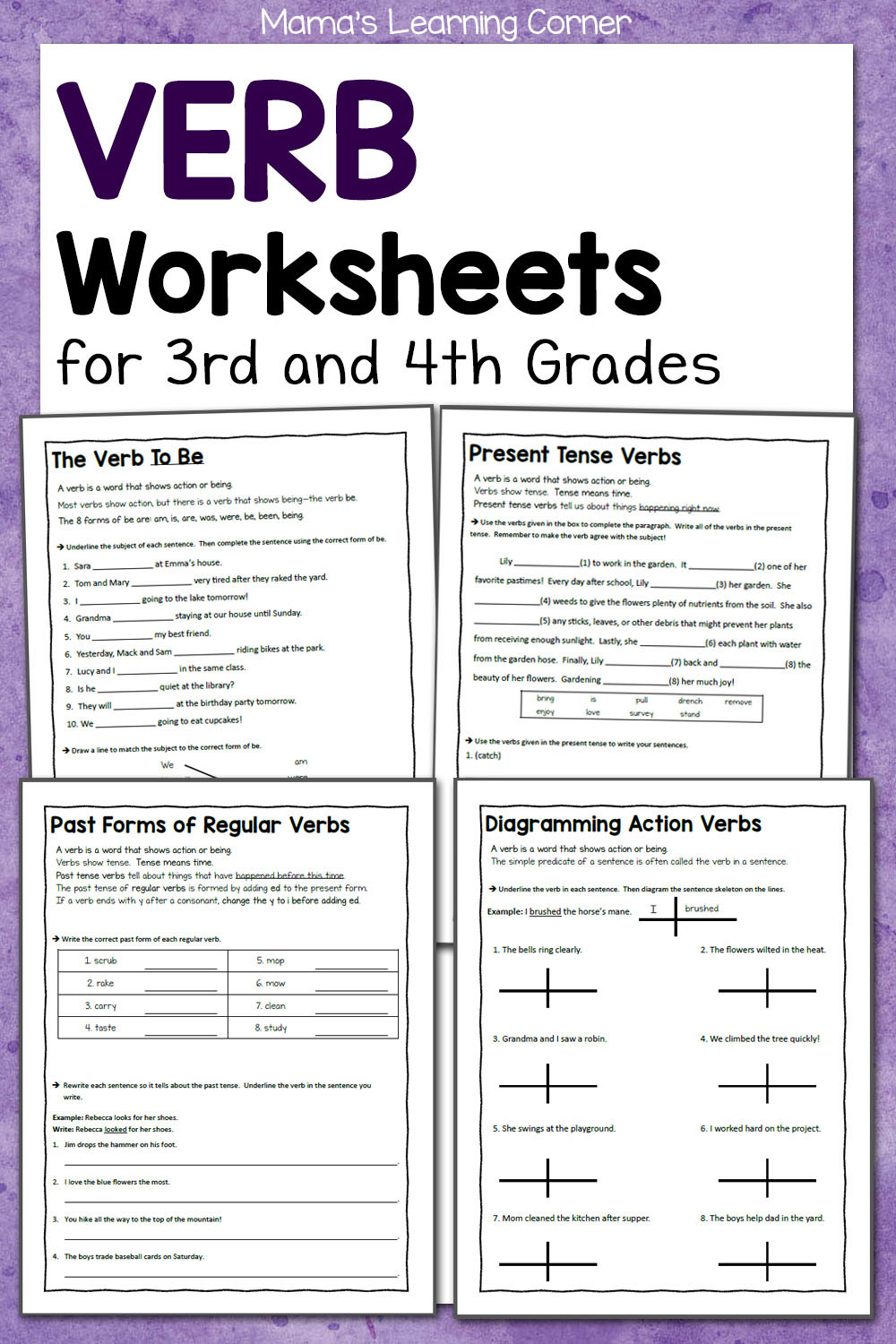 Word form Worksheets 4th Grade Verb Worksheets for 3rd and 4th Grades Mamas Learning Corner
