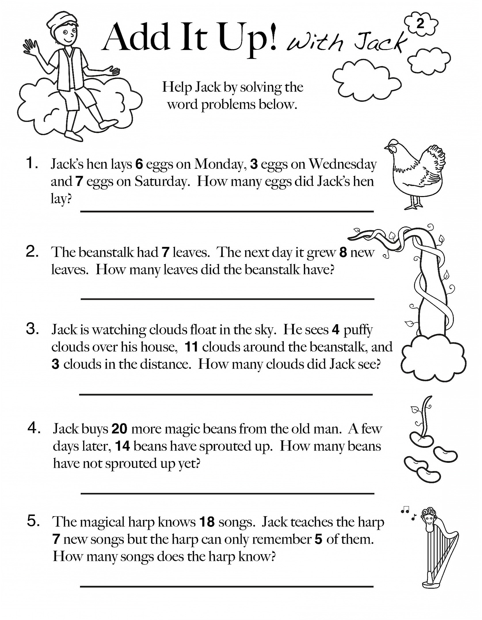 Word Problem Worksheets 1st Grade Addition Word Problem Worksheet
