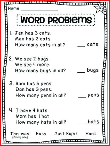 Word Problem Worksheets 1st Grade Word Problems Worksheets 1st Grade Picture Math Subtraction