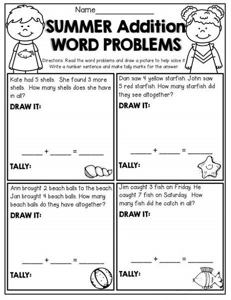 Word Problem Worksheets for Kindergarten Picture Word Problems