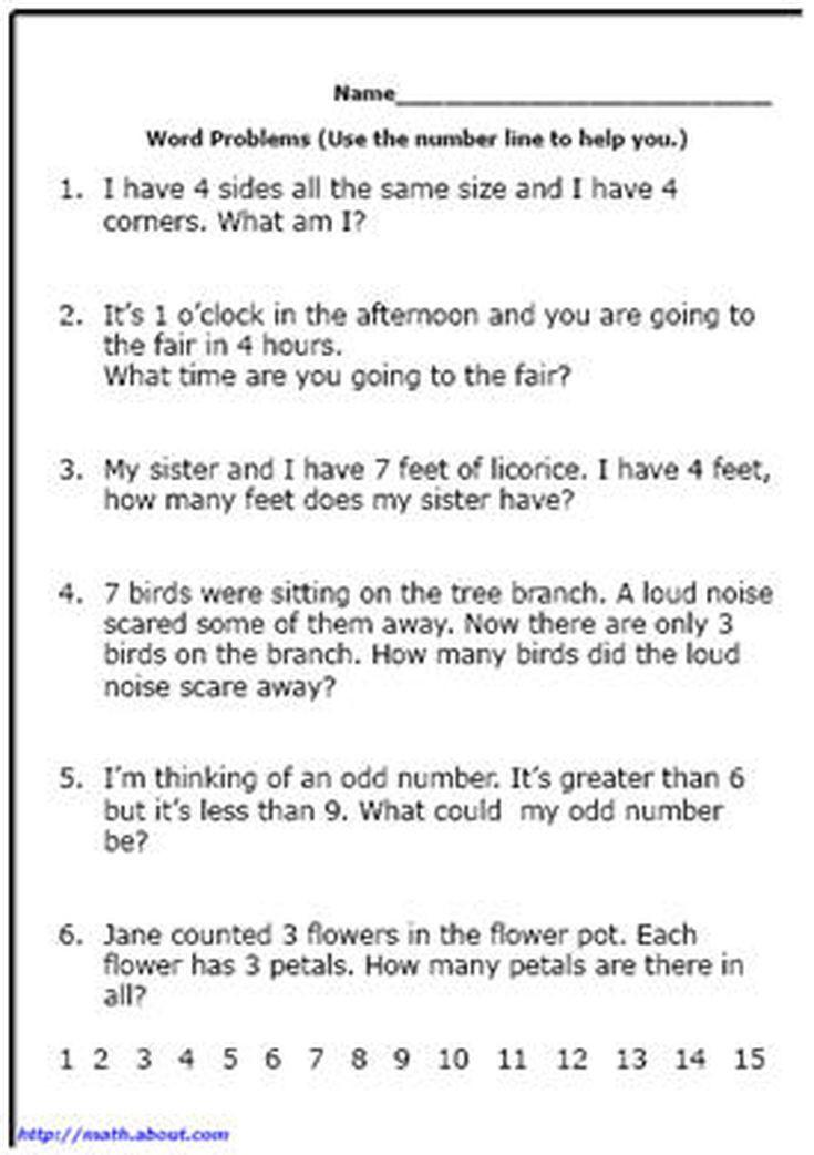 Word Problem Worksheets for Kindergarten Word Problem Worksheets for First Grade Math
