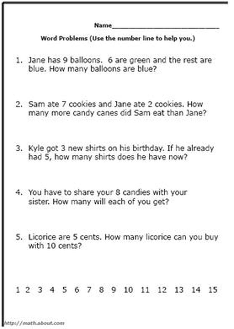 Word Problem Worksheets for Kindergarten Word Problem Worksheets for First Grade Math