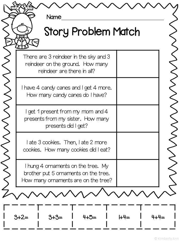 Word Problems for Kindergarten Worksheets Christmas Addition Story Problems