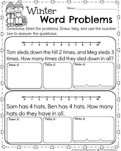 Word Problems for Kindergarten Worksheets Kindergarten Math and Literacy Worksheets for February