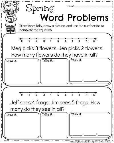 Word Problems for Kindergarten Worksheets Spring Kindergarten Worksheets