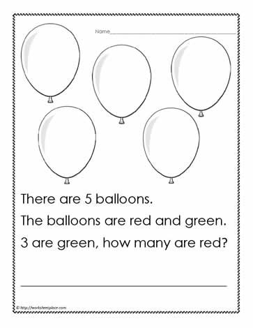Word Problems for Kindergarten Worksheets Word Problem to 5 Worksheets
