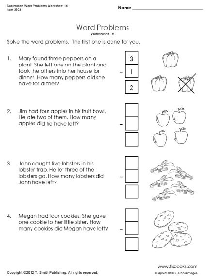 Word Problems Kindergarten Worksheets Subtraction Word Problems Worksheets 1b 1c
