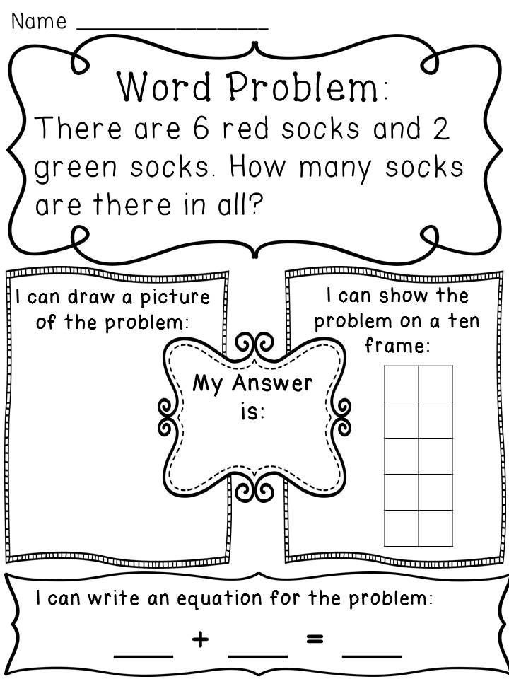 Word Problems Worksheets for Kindergarten Addition Word Problems Hands Activity Worksheets