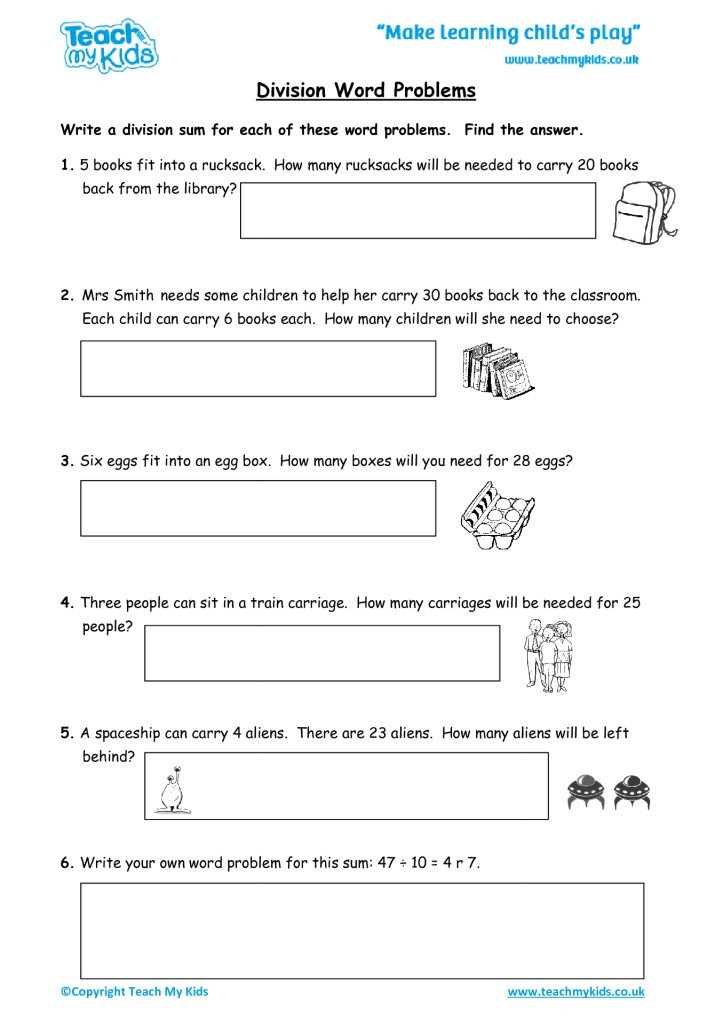 Word Problems Worksheets for Kindergarten Division Word Problems