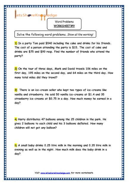Word Problems Worksheets for Kindergarten Grade 5 Maths Resources Multiple Step Word Problems