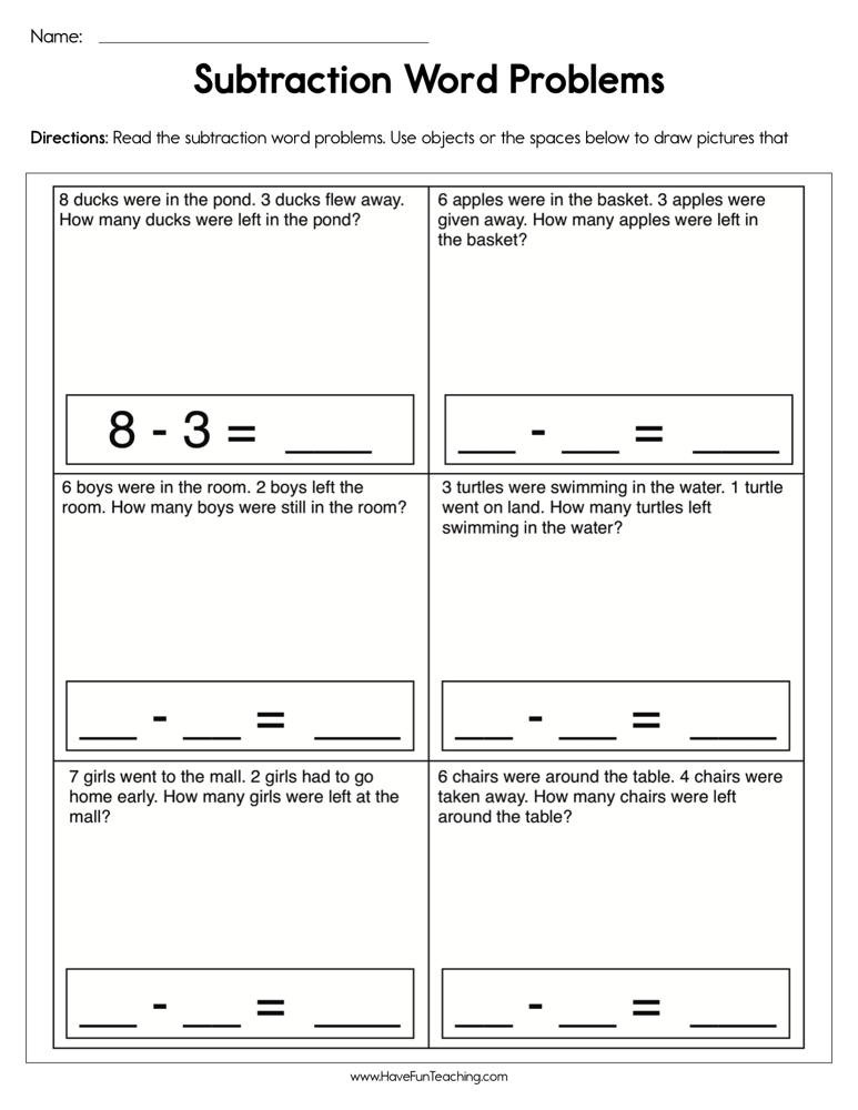 Word Problems Worksheets for Kindergarten Subtraction Word Problem Worksheet