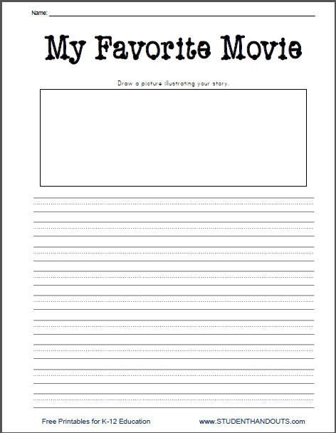 Worksheets for First Grade Writing My Favorite Movie Free Printable Writing Prompt Worksheet