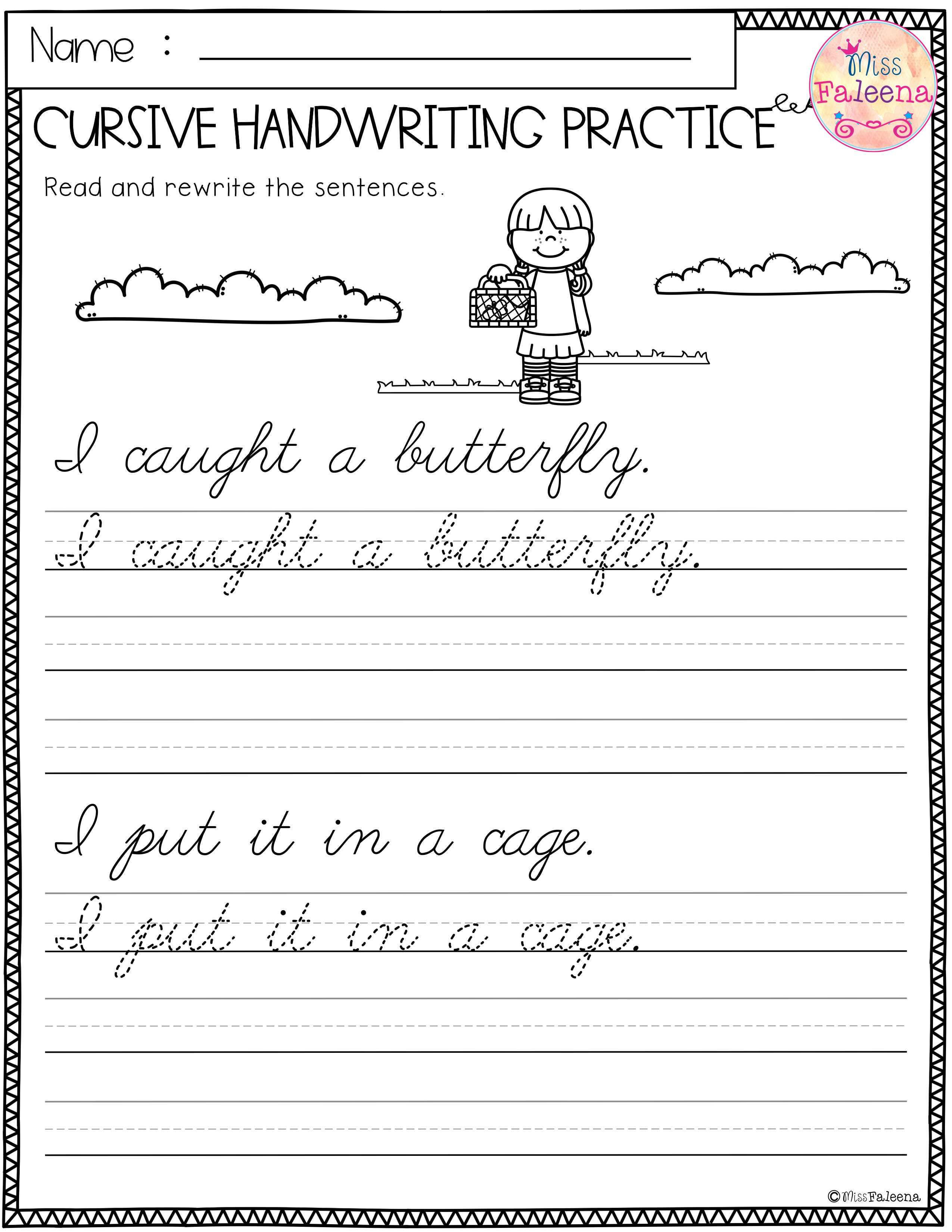 Writing Sheets for 1st Graders Spring Cursive Handwriting Practice