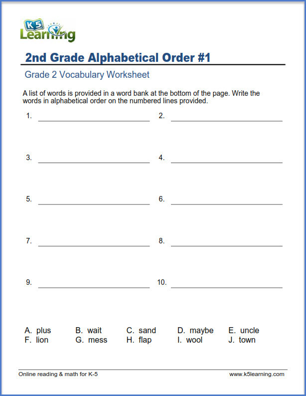 Writing Worksheet 2nd Grade 2nd Grade Vocabulary Worksheets – Printable and organized by