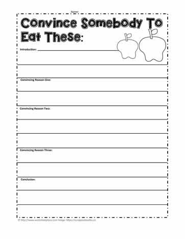 Writing Worksheet 2nd Grade Persuade Me to Eat An Apple Worksheets