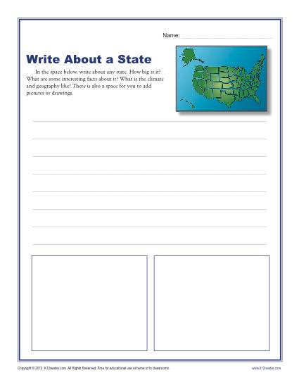 Writing Worksheet 2nd Grade Write About A State