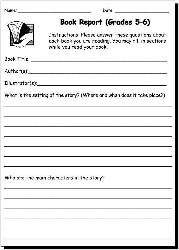 Writing Worksheets 4th Grade Book Report 5 & 6 Writing Practice Worksheet for 5th and
