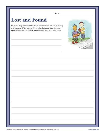 Writing Worksheets 4th Grade Lost and Found