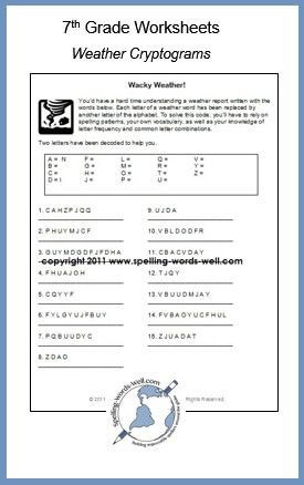 Writing Worksheets 7th Grade 7th Grade Worksheets for Spelling & Vocabulary Practice