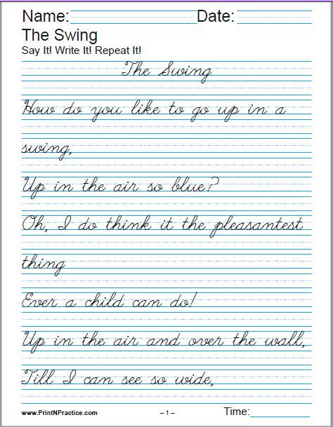 Writing Worksheets 7th Grade Printable Handwriting Worksheets ⭐ Manuscript and Cursive