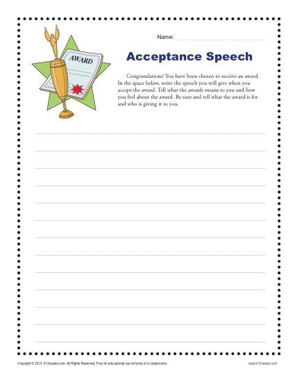 Writing Worksheets for 5th Grade Acceptance Speech