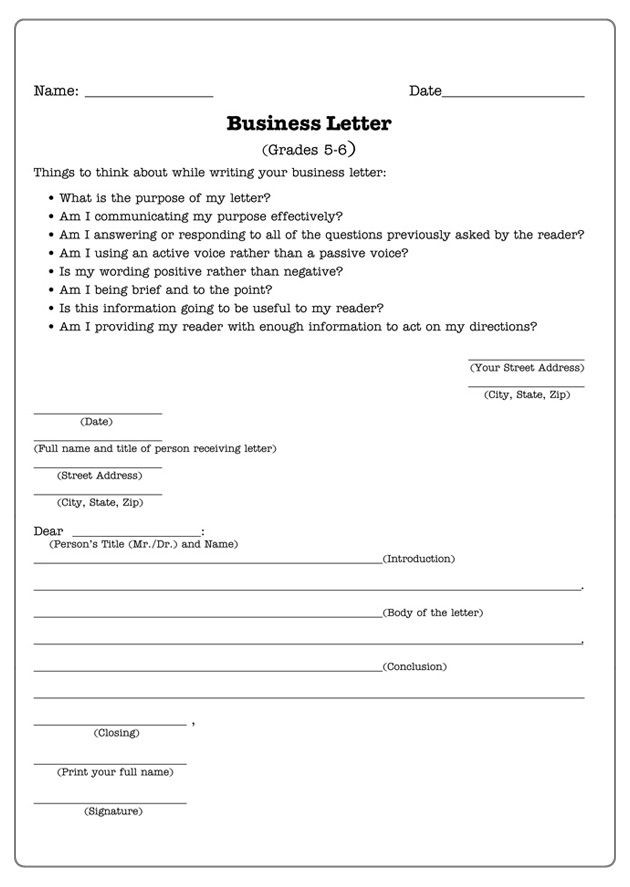 Writing Worksheets for 5th Grade Business Letters Letter Writing Worksheet for 5th and 6th