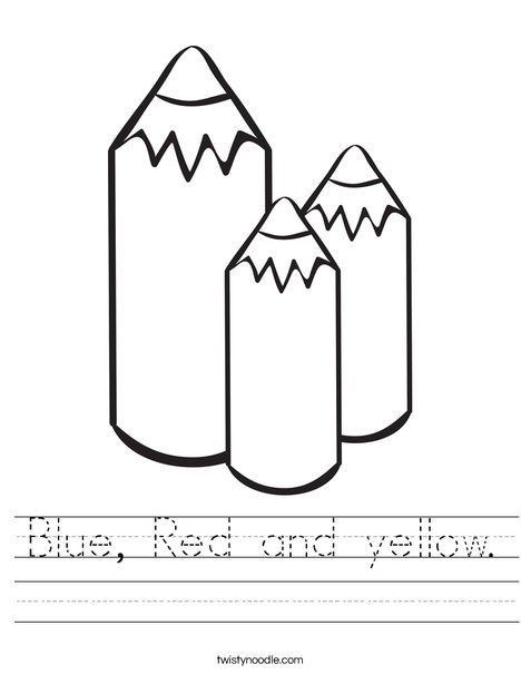 Yellow Worksheets for Preschool Blue Red and Yellow Worksheet Twisty Noodle