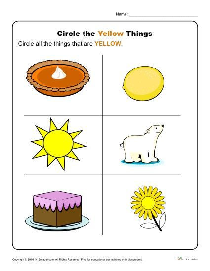Yellow Worksheets for Preschool Circle the Yellow Things