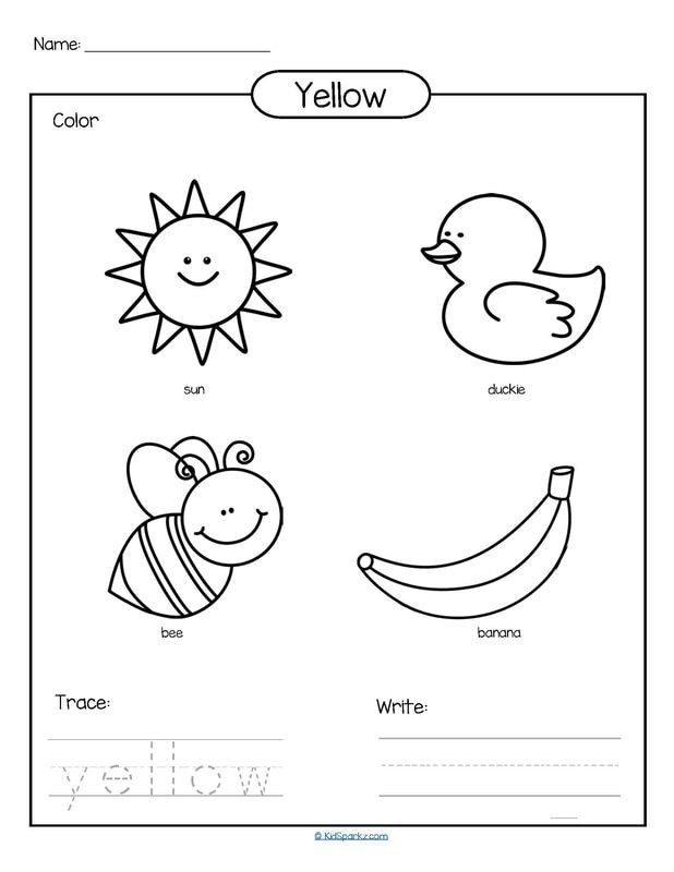 Yellow Worksheets for Preschool Color Yellow Printable Color Trace and Write