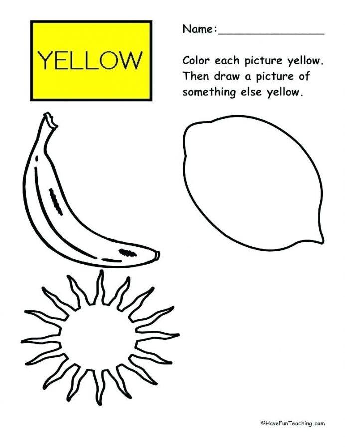 """Yellow Worksheets for Preschool Color Yellow Worksheets for toddlers لم يسبق له Ù…Ø ÙŠÙ"""" الصور"""