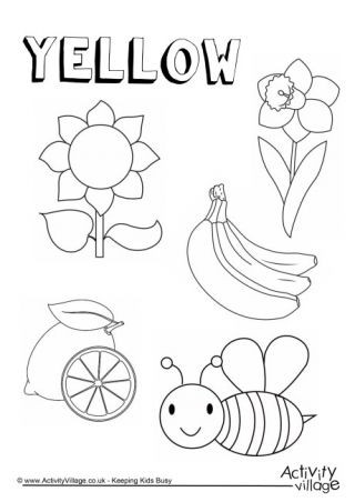 Yellow Worksheets for Preschool Colour Collection Colouring Pages