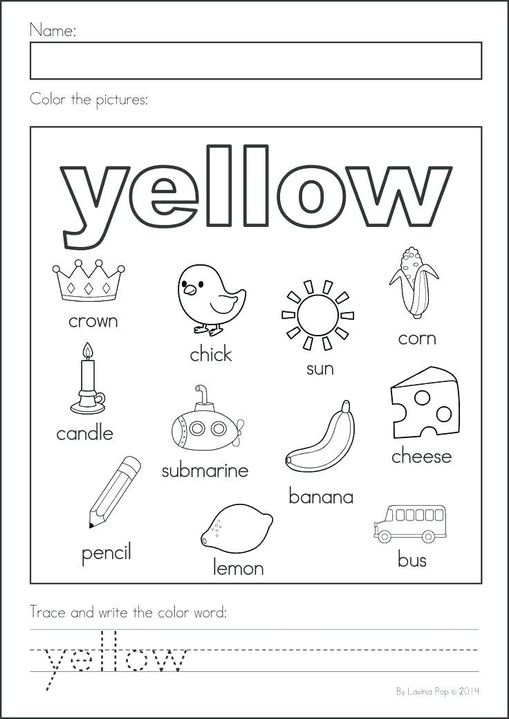 Yellow Worksheets for Preschool Red Worksheets for Preschool Color Science for Kids Red