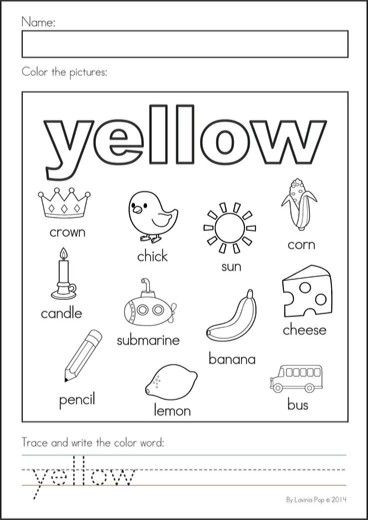 Yellow Worksheets for Preschool Yellow