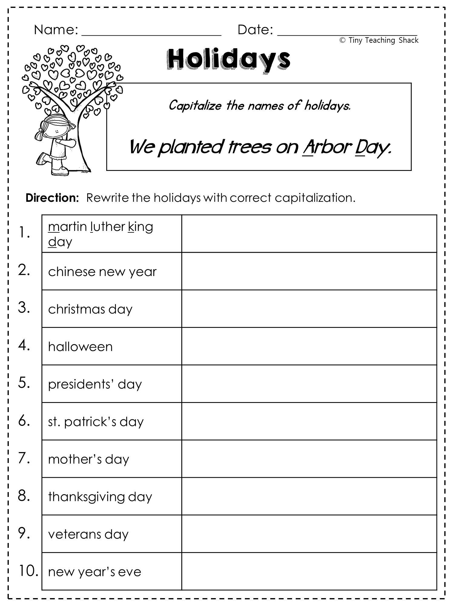 1st Grade Capitalization Worksheets Free Pronoun Worksheet for 2nd Grade