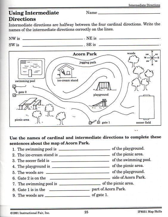 1st Grade Map Skills Worksheets New Cardinal Directions Worksheets 1st Grade Homeshealth