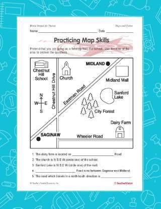 1st Grade Map Skills Worksheets Practicing Map Skills Printable Geography 2nd 4th Grade