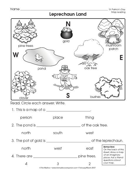 1st Grade Map Skills Worksheets Reading A Map Worksheet Easy and Free to Click and Print