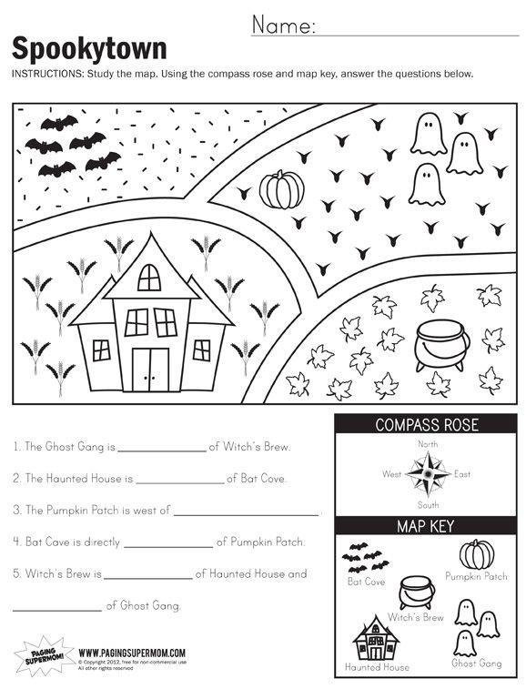 1st Grade Map Skills Worksheets Spookytown Map Worksheet