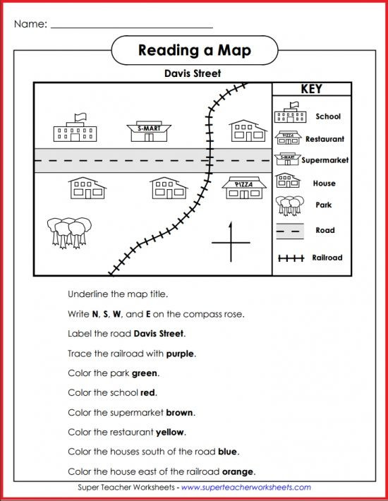 1st Grade Map Skills Worksheets Teach Basic Map Skills with This Printable Map Activity